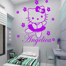popular girls rooms decorations buy cheap hello kitty fairy personalised name wall sticker art decal vinyl kids girl room decorative free shipping