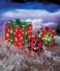 outdoor lighted gift boxes bring a cheer to your