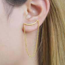 stud earrings with chain gold spike bar chain stud earrings by otis jaxon silver