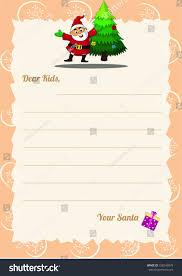 christmas wishlist letter santa template happy stock vector