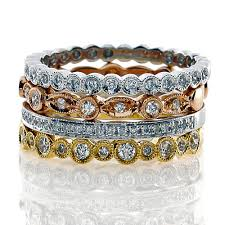 stackable diamond rings stackable diamond wedding bands in 18k mixed metals motek