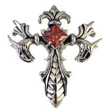 cross stone necklace images Goth dragon vampire red stone cross pendant necklace jpg