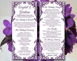purple wedding programs printable wedding program template mr mrs instant