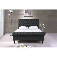 Fabric Sleigh Bed Chesterfield Fabric Upholstered Grey 6ft Super King Sleigh Bed