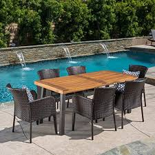 amazon com delgado 7 piece outdoor dining set wood table w