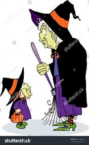 two scary witches meet each other stock illustration 116798164