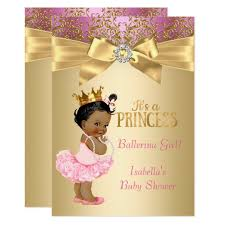 pink gold baby shower princess baby shower pink gold ballerina ethnic card zazzle