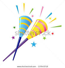 party horns two colorful party horns vector illustration stock vector