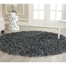 Safavieh Leather Shag Rug Safavieh Handmade Metro Modern Grey Leather Decorative Shag Rug 6