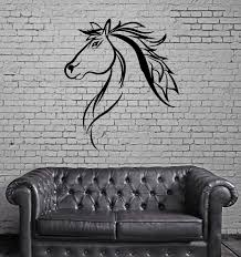 horse uber decals wall decal vinyl decor art sticker removable mustang horse head pony stallion silhouette wall mural vinyl art sticker m537