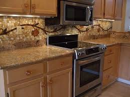 kitchen elegant floral mosaic tile backsplash with maple cabinet