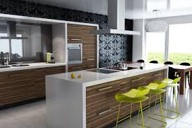 modern kitchen island design oak wood wall kitchen cabinet green