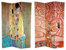 double sided 6 ft the kiss u0026 tree of life 3 panel room divider