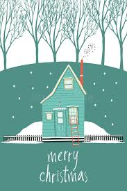 merry christmas design card with a house in a winter forest stock