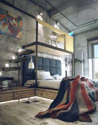 Bedroom  White Lamp Brown Wooden Floor Industrial Loft With - Concrete walls design