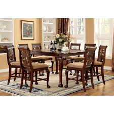 9pc dining room set furniture of america harsburough classic counter height 9 piece