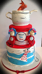 thing 1 and thing 2 baby shower cake for twin girls gumpaste thing