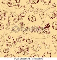 seamless pattern food sweets sketch seamless pattern food sweets bakery and vectors