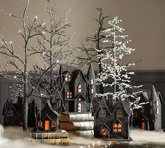 lit spooky black german glitter trees pottery barn