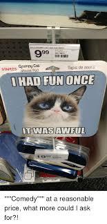 Grumpy Cat Meme I Had Fun Once - spls grumpy cat had fun once 9931 sku 136615 staples grumpy cab