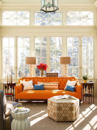 orange pillow orange sofa as interior design in charming room
