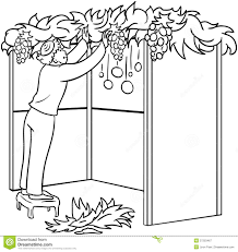 jewish guy builds sukkah for sukkot coloring page royalty free