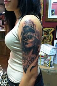 black and grey day of the dead with roses by david meek
