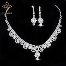 bridal necklace sets silver images Treazy celebrity inspired crystal rhinestone choker necklace jpg