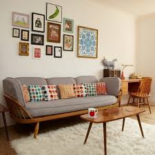 Small Brown Desk Furniture Vintage Mid Century Room With Grey Sofa Feat Colorful