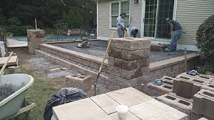 Raised Paver Patio Raised Paver Patio With Pillars In Goshen New York Mfs Masonry