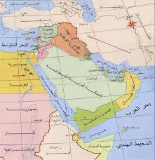 middle east map water bodies arabic without walls
