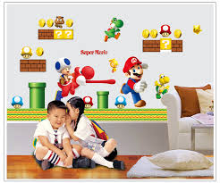 Super Mario Home Decor Aliexpress Com Buy Super Mario Bros Wall Sticker Games Mario