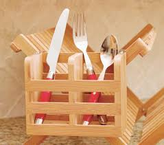 bamboo flatware holder with metal clips 2 compartments lipper