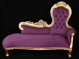 french rose sofa chaise lounge gold finish with purple fabric