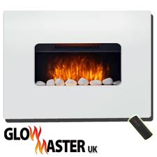 electric wall mounted fire fireplace white mdf flicker flame