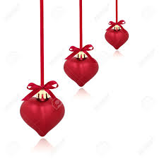 ribbon and bows christmas heart shaped baubles with ribbon and bows isolated
