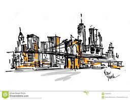 free hand sketch of new york city skyline vector scribble stock