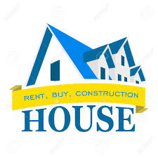 logo house rental sales and construction of houses royalty free