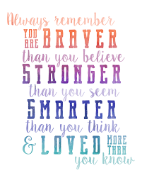 always remember you are braver than you believe stronger than