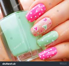 valentine nail art manicure valentines day stock photo 360549920