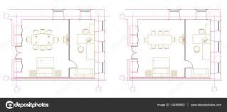 Floor Plan Elements Standard Office Furniture Symbols On Floor Plans U2014 Stock Vector
