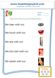 kindergarten learning match the body parts worksheet 1