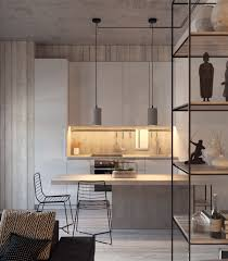 design wood and light grey kitchen led lit inlet contemporary