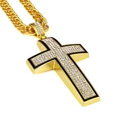 hip necklace chain images Big cross pendant necklace yellow full imitated zirconia jpg