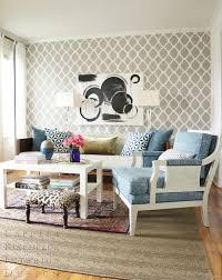 blue quatrefoil wallpaper quatrefoil wallpaper contemporary living room capella