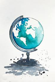 Modern Wall Art Original World Map Watercolor Painting Globe Illustration Travel