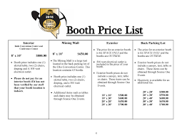 Booth Rental Agreement 8 Download Booth Price List 2016 Jpg