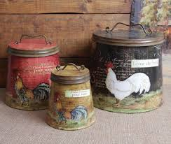 country kitchen canisters sets shabby country chic rooster tin canister set home decor