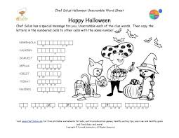 holidays 10 halloween unscramble words healthy message puzzle