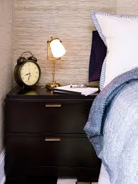 best online sources for wallpaper hgtv s decorating design transitional dark brown nightstand with gold lamp